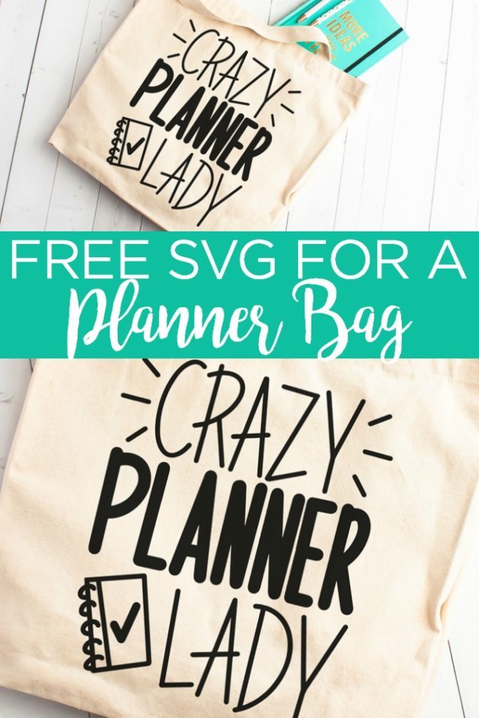 "Make this DIY planner bag to store all of your planner supplies! Includes a free planner SVG file that reads ""crazy planner lady"" to use with your Cricut! #cricut #cricutcreated #planner #plannerlady #plannertote #plannerbag #bag #tote #organize #organization #htv #heattransfervinyl #svg #freesvg #cutfile #freecutfile #svgfiles"