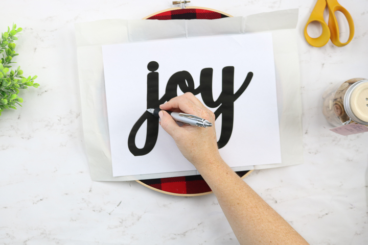 adding the word joy to fabric