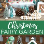 Make your own Christmas fairy garden with these step by step instructions! This will look great in your home's decor this holiday season! #christmas #holidays #fairygarden #miniatures #christmasdecor #holidaydecor #santa #glitter