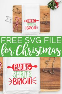Looking for free Christmas SVG files? We have 16 including this baking spirits bright Christmas SVG that is perfect for gifts! #christmas #svg #freesvg #cricut #cricutcreated #svgfile #cutfiles #freecutfiles #baking #christmasbaking #christmastowel #towel #kitchentowel #teatowel #holidays #giftidea