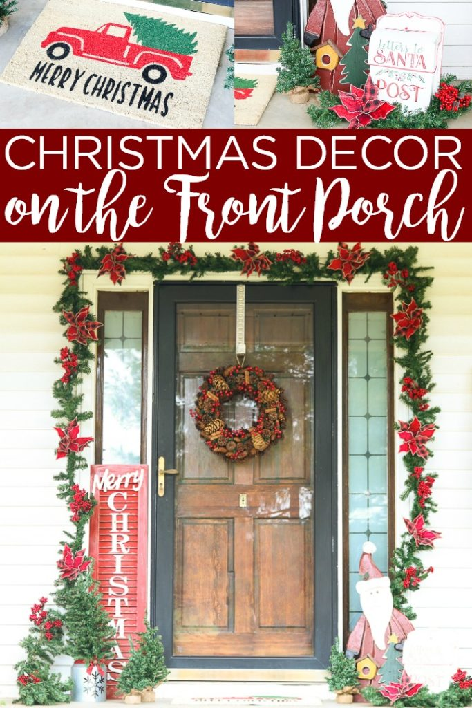 These front porch Christmas decorations will be the hit of the neighborhood! Shop for everything you need from Old Time Pottery then pull together your decor in just minutes! #christmas #frontporch #farmhouse #farmhousestyle #rustic #christmasdecor #christmasdecorations #santa #merrychristmas #truckandtree #santa