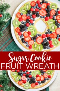 Make a sugar cookie fruit pizza in the shape of a wreath for the holiday season! This easy holiday dessert recipe will be the talk of the party! #christmas #holiday #dessert #yum #food #foodie #holidaydessert #christmasdessert #fruitdessert #fruit #sugarcookie #easyrecipe