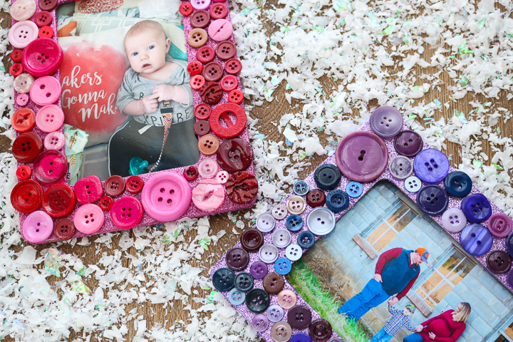 picture frames made with glitter and buttons