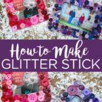 Learn how to make glitter stick to wood with our secret weapon! We are making glitter button frames to show this easy technique for adding glitter to just about any surface! #glitter #frame #pictureframe #photoframe #diyframe #diyglitter #diy #crafts #adhesive #modpodge #modpodgerocks #buttons