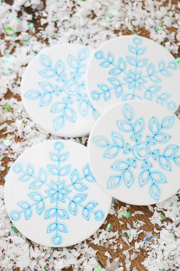 snowflake infusible ink ceramic coasters