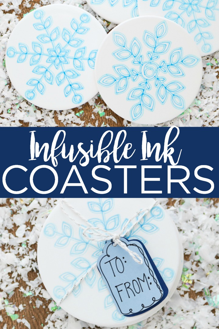 Learn how to make Infusible Ink ceramic coasters with your Cricut! These easy DIY coasters make a great gift idea! #cricut #cricutcreated #infusibleink #howto #tutorial #cricuttutorial #cricutvideo #video #instructions #snowflakes #christmasgift #holidaygift #cricutgift #coasters #diycoasters #winter #wintercraft #crafts #diy