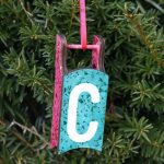 Initial Ornament Made with Glitter Paint
