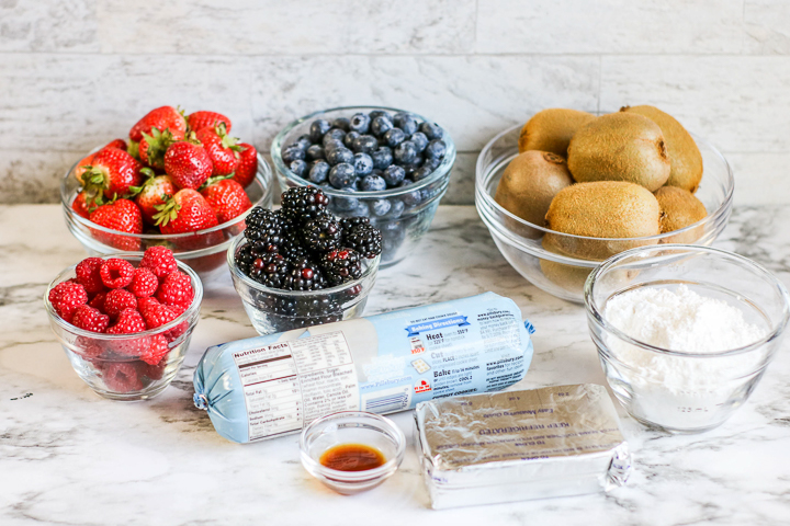ingredients to make a sugar cookie fruit pizza