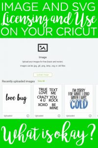 We have everything you need to know about image and SVG licensing and your Cricut. Protect yourself and your business by following copyright laws when uploading images on your machine. #cricut #cricutcreated #licensing #copyright #uploading #crafts #crafting #diy