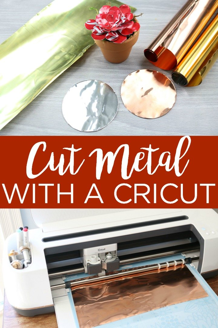 Learn how to cut metal with a Cricut Explore or Maker. From what mat to use to settings and more, you will learn that you can cut metal with a Cricut machine! #cricut #cricutcreated #metal #cricutexplore #cricutmaker #cricutmachine #metalcrafts #metalcraft #copper #aluminum #sodacans