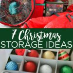 These Christmas decoration storage ideas are perfect for making sure your holiday decor lasts for years! We have ideas for ornaments to wreaths to lights and more! #christmas #holidays #wreath #lights #ornaments #storage #organization #organize #christmasdecor #christmasdecorations