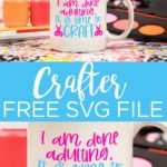 Get this free crafter SVG for all of your craft projects! This free cut file is perfect for those Cricut crafters that want to create all the time! #cricut #cricutcreated #crafter #crafting #svg #freesvg #svgfiles #cutfiles #freecutfiles #cricutcutfiles
