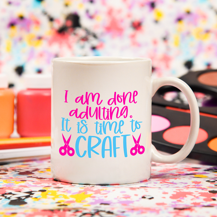 """You can use this """"it's time to craft"""" Crafter SVG file for so many crafts, like this fun coffee mug"""