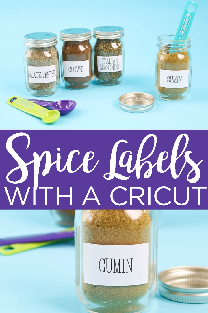 Get these printable spice labels for your Cricut machine and organize your kitchen! These cute labels can be used with the print then cut feature for easy organizing! #cricut #cricutcreated #labels #organizing #spices #kitchen #kitchenoganization #organization #printablevinyl #printable #printablelabels #printthencut #cricutlabels #cricutcrafts #cricutprojects #cricutorganizing