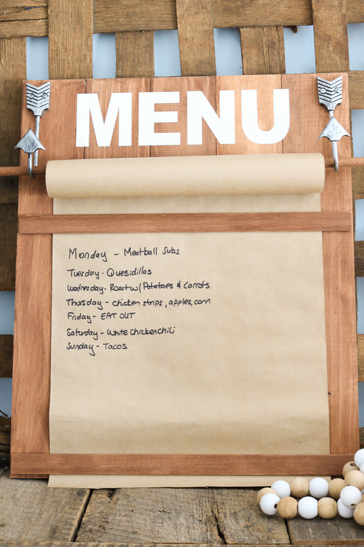 farmhouse style menu board