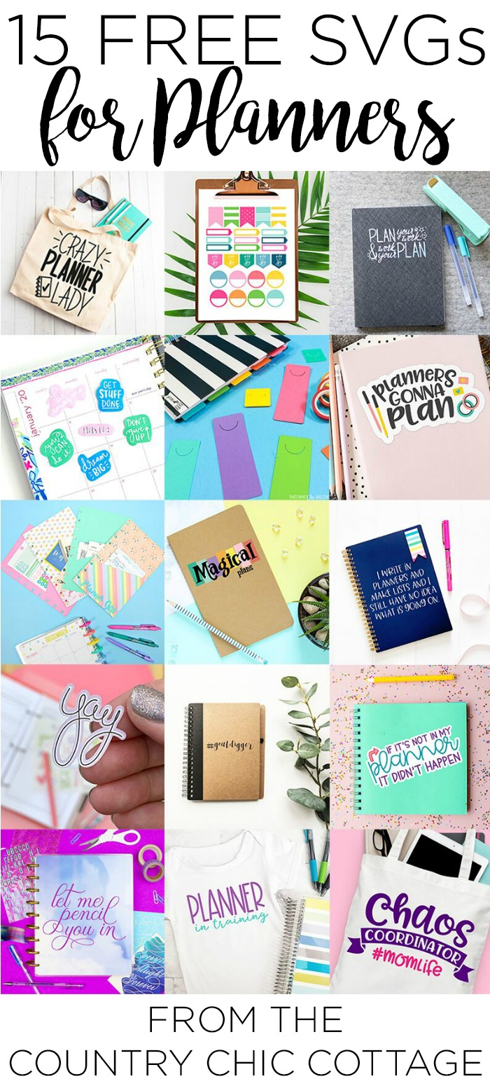 Download these 15 free planner SVGs for your craft projects! Use your Cricut machine to make all of the things for planner lovers with free SVG files that everyone will love! #planner #plannersvg #freesvg #svgs #cutfiles #freecutfiles #organization #plannermom