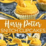 Make these Harry Potter cupcakes that look like a snitch for your next party! These are easy to make and your guests will love them! #harrypotter #snitch #cupcakes #dessert #yum #food #foodie #party #birthday #birthdayparty #harrypotterparty