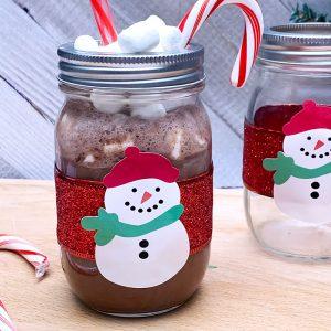 snowman hot cocoa jar