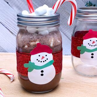 snowman hot cocoa jar