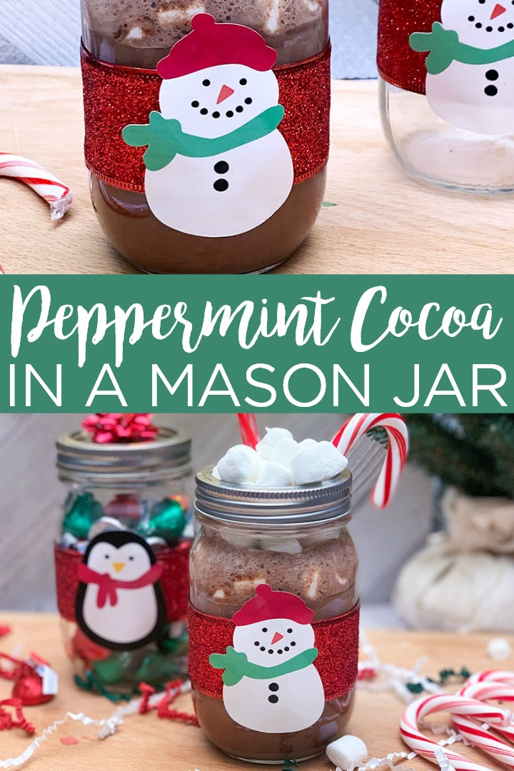 A delicious peppermint hot cocoa recipe along with instructions for a snowman mason jar to put it in! A fun idea for parties and so much more! #hotcocoa #peppermint #snowman #masonjar #cocoa #recipe #chocolate #hotchocolate #cricut #cricutcreated #cricutideas #cricutsnowman