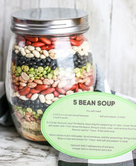 five bean soup gift in a jar