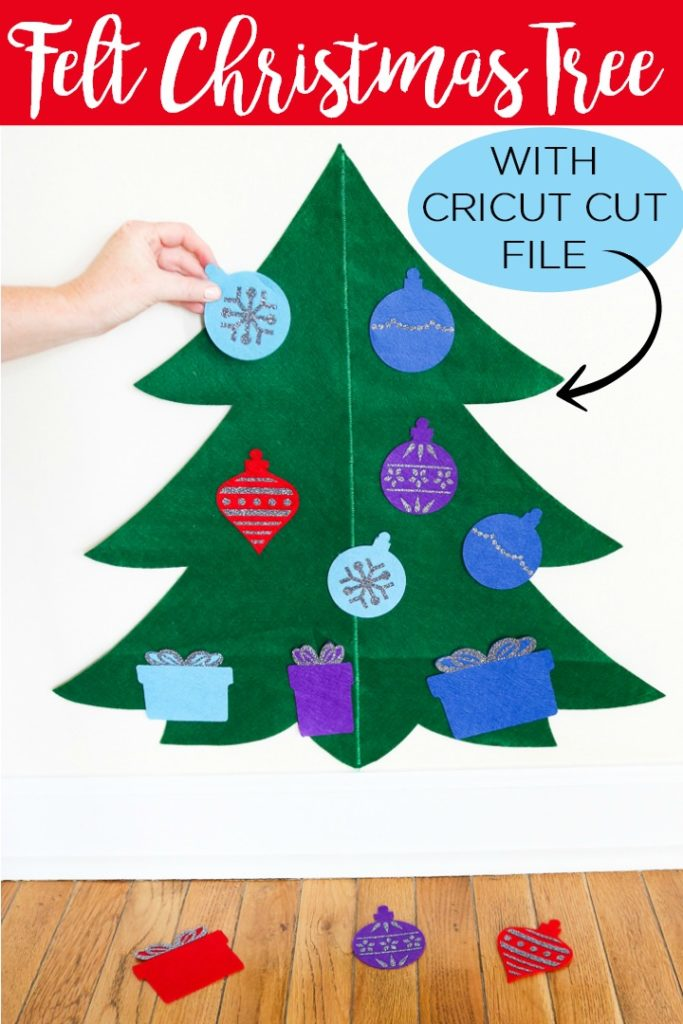 Learn how to make a felt Christmas tree with your Cricut machine! This tree is perfect for toddlers and small children to decorate all on their own and it is easy to make! #cricut #cricutcreated #holidays #christmas #toddler #giftidea #handmadegift #toys #kids #felt #feltcraft #ironon #htv #heattransfervinyl #cricutchristmas #cricutcraft #cricututorial #cricutcutfile