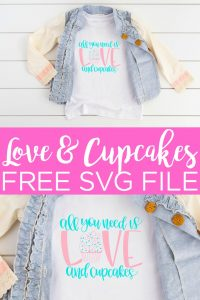 Need a cupcake SVG for your Cricut machine? We have your free cut file for Valentine's Day or any day that you only need love and cupcakes! #svg #svgfile #cutfile #love #valentinesday #cupcakes #freesvg #freecutfile #cricut #cricutcreated #htv #heattransfervinyl