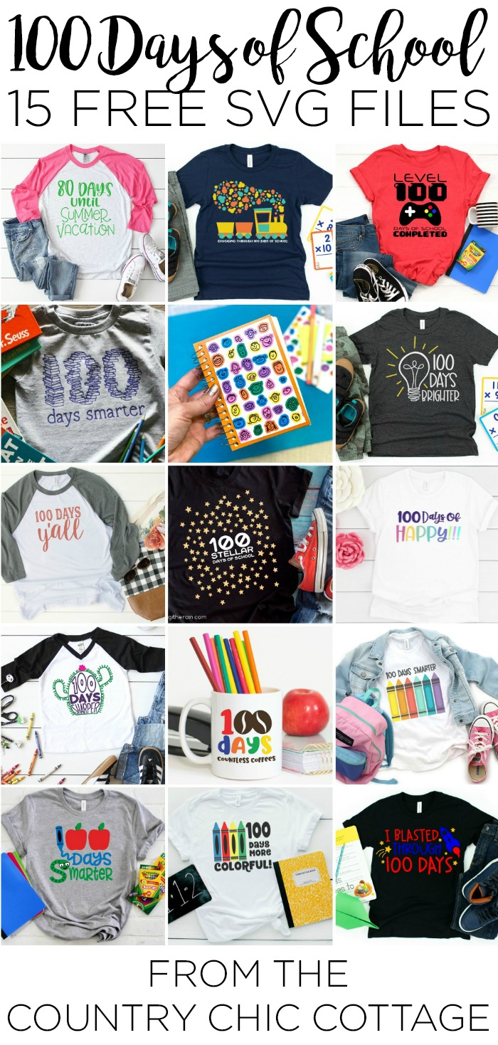 Celebrating the first 100 days of school? Try one of these free SVG cut files to make something extra special on their big day! #school #svg #freesvg #svgs #cutfiles #cricut #cricutcreated #100days #htv #heattransfervinyl