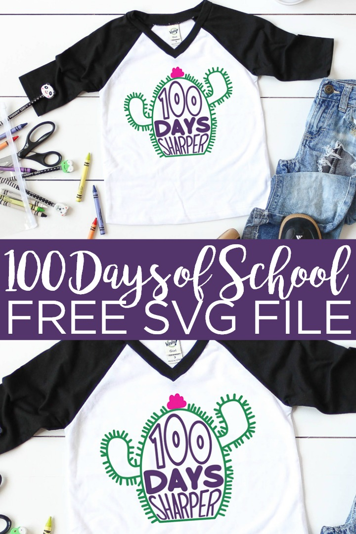 Get this free 100 days of school SVG and add it to a shirt for your little one! The cactus has 100 needles so they are all set for counting the days of school! #school #100days #cricut #cricutcreated #svg #freesvg #svgfile #cutfile #freecutfile #cactus #sharp #elementaryschool
