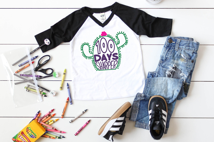 This 100 days of school SVG looks great on this toddler's t-shirt!