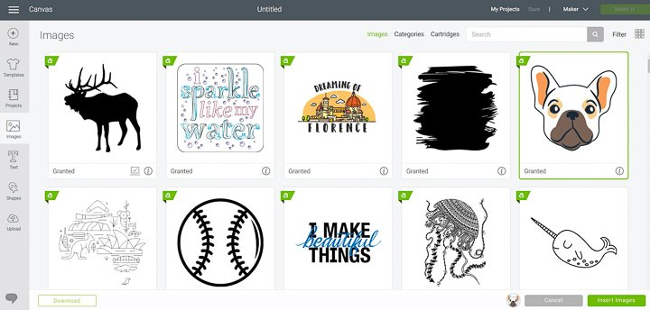 A selection of offline design space image in Cricut Design space.