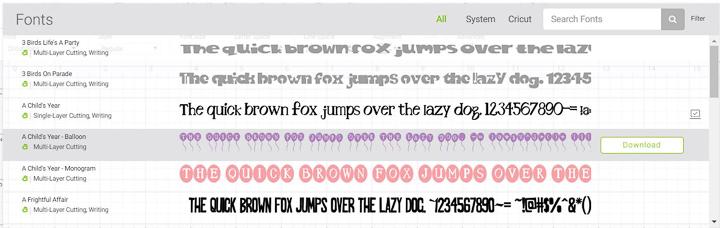 A selection of Cricut design space fonts