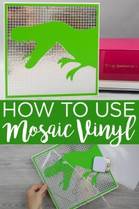Learn how to use mosaic vinyl from Cricut and how to make a fun dinosaur wall hanging for a kid's room. This easy to use Cricut vinyl will add so much to your crafts! #cricut #cricutcreated #vinyl #cricutvinyl #cricutprojects #cricutmade #mosaic #mosaicvinyl #dinosaur #kidsroom #cutfile #dinosaurcutfile