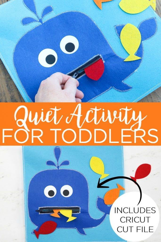 Grab your Cricut and make this quiet activity for toddlers! This whale and fish themed game is perfect for keeping little hands busy and quiet. #cricut #cricutcreated #whale #fish #toddlers #kids #game #toy #handmade #giftidea #cricutlove #cricutexplore #cricutmaker #felt #cricutexploreair #explore #exploreair #maker
