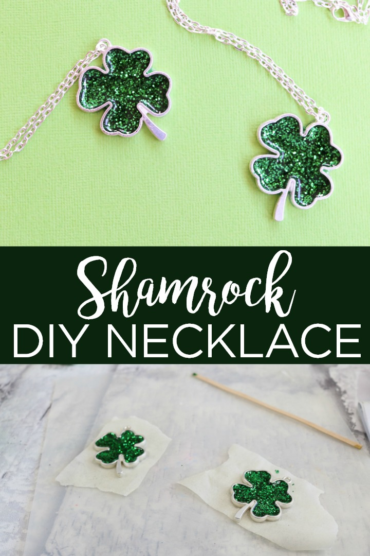Make this DIY St. Patrick's Day necklace easily! This green shamrock made from resin will be perfect hanging around your neck! #stpatricksday #saintpatricks #shamrock #clover #4leafclover #green