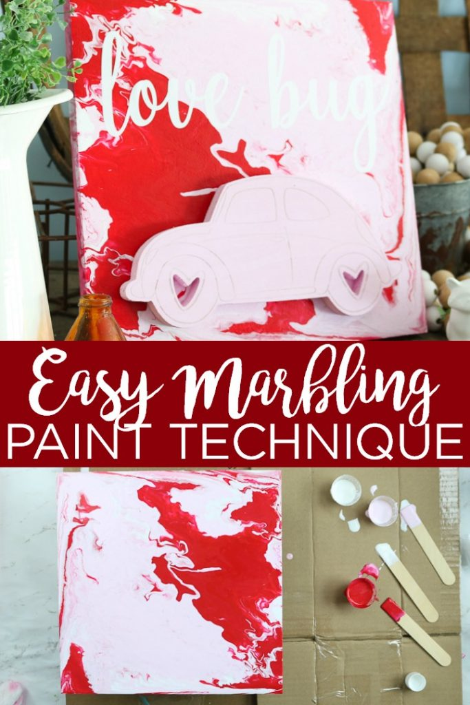 This marbling paint technique will show you how to use acrylic paint pouring to create a cute Valentine's Day sign in just minutes! You will love this easy way to paint wood. #marbling #testors #testorscraft #lovebug #vwbug #wood #paintpour #paintpouring #acrylicpaint #cricut #cricutcreated #paint #valentinesday #valentines