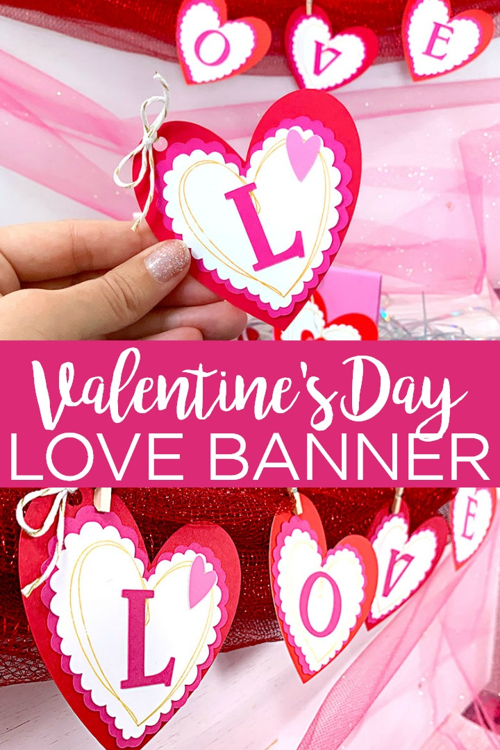 Make an easy Valentine's Day banner with your Cricut machine and these instructions. A quick project that will really spread the love this year! #valentinesday #cricut #cricutcreated #love #banner #homedecor #papercrafts #valentine #decor #decorating #party #partydecor #partyideas