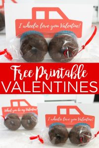 Get a free printable valentine with a truck! These cute truck valentines will be the hit with your little ones when you add donuts for the wheels. #valentine #freeprintable #printable #download #truckvalentine #valentinesday #valentines #truck #donuts