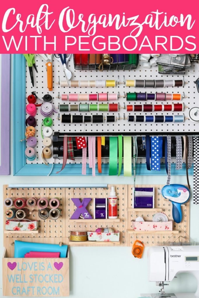 Use a craft room pegboard to get your space organized in no time at all! If you are struggling with how to organize craft supplies, this solution is for you! #organization #organize #craftroom #pegboard #craftsupplies