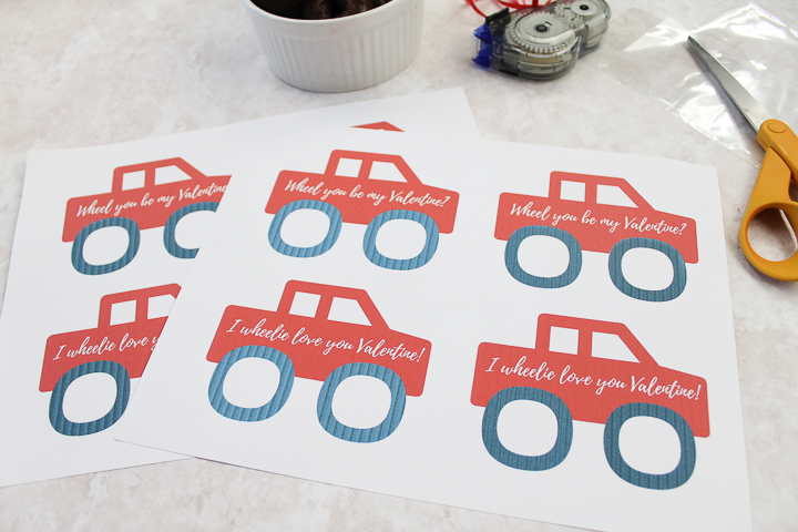 free printable valentine with a truck