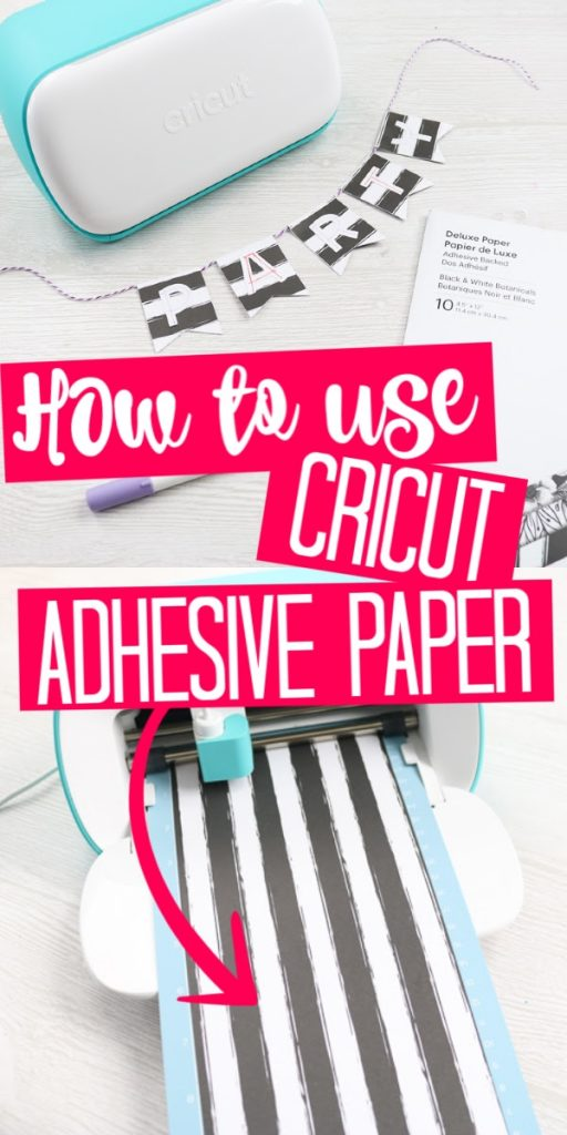 Learn how to use Cricut adhesive backed paper on the Cricut joy to make a party banner! This new Cricut material is perfect for paper crafters! #cricut #cricutjoy #cricutcreated #cricutprojects #party #partyideas #partybanner #papercrafts