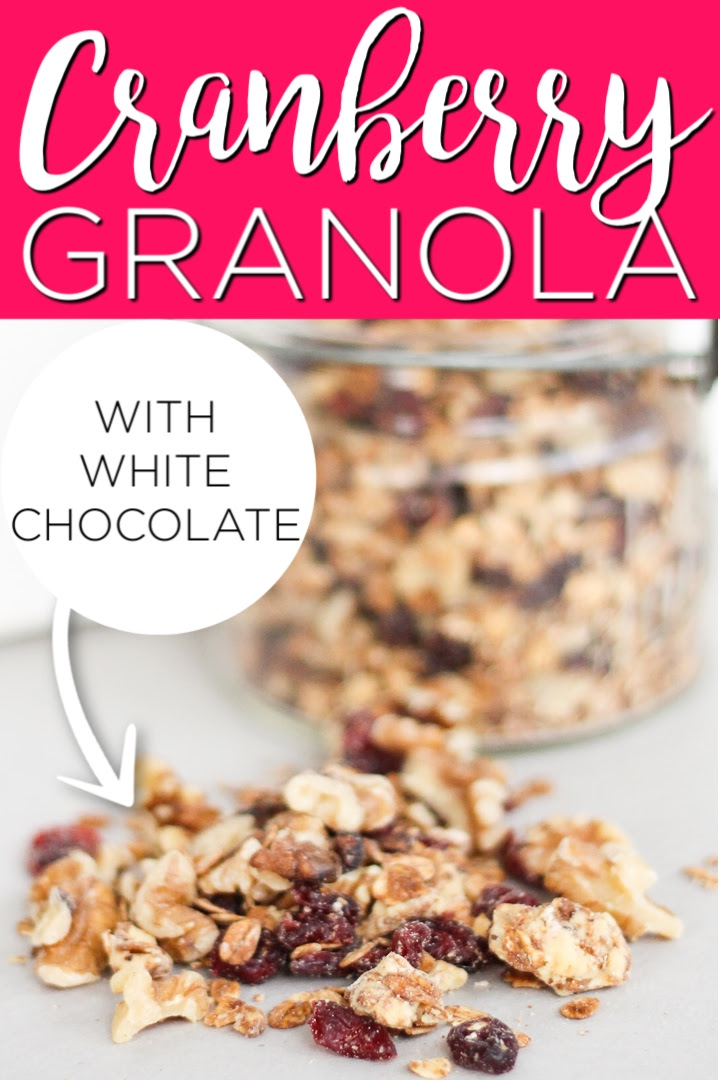 Make this cranberry granola with white chocolate for your family! They will love this delectable recipe that can be served for breakfast or as an afternoon snack! #granola #recipe #cranberry #whitechocolate
