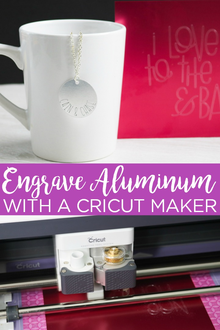 Learn how to engrave aluminum with a Cricut Maker and the engraving tip! It is so much easier than you think which means you will be making custom gifts in minutes! #cricut #cricutmaker #cricutcreated #engrave #aluminum #jewelry #custom #personalized #gift #giftidea