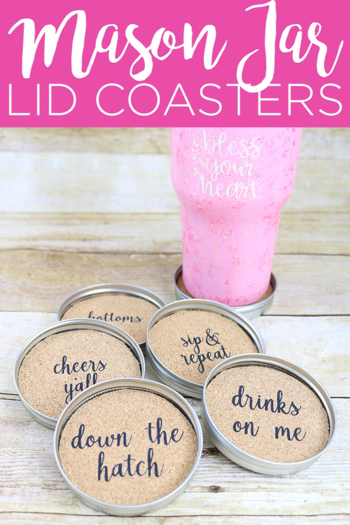 Make these mason jar lid coasters for your farmhouse style home! It is easy when you use heat transfer vinyl and your Cricut machine to add sayings to cork! #cricut #cricutcreated #masonjar #jarlids #coasters #farmhouse #farmhousestyle #rustic