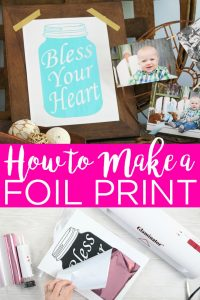 Learn how to make a DIY foil print with the Glaminator from Xyron. This machine will laminate as well as add foil to laser prints for DIY art made at home! #foil #masonjar #art #laserprint #laminate #glaminate #foilart #home #homedecor