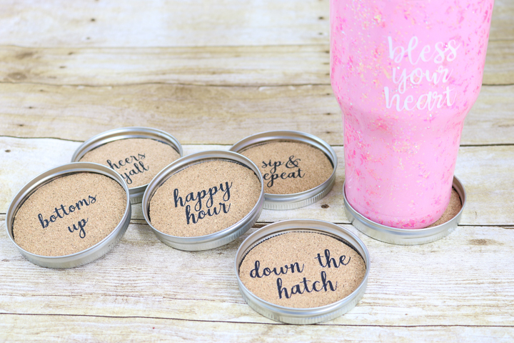 how to make DIY mason jar lid coasters