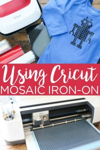 Learn how to use Cricut mosaic iron-on including the double liner feature that makes it easier to weed! You are going to love this special heat transfer vinyl and what it adds to your projects! #cricut #cricutcreated #htv #ironon #mosaic #shirt #robot #cutfile #cricutlove