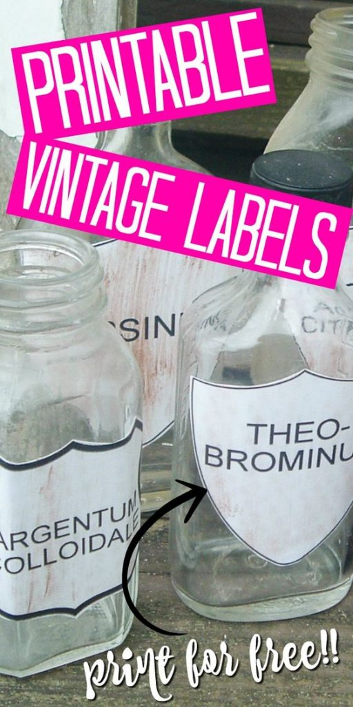 Add these free printable vintage labels to your home! Print then add to the front of bottles for some gorgeous apothecary jars in minutes that won't cost you an arm and a leg! #vintage #farmhouse #farmhousestyle #printable #freeprintable #apothecary #labels #bottles #jars