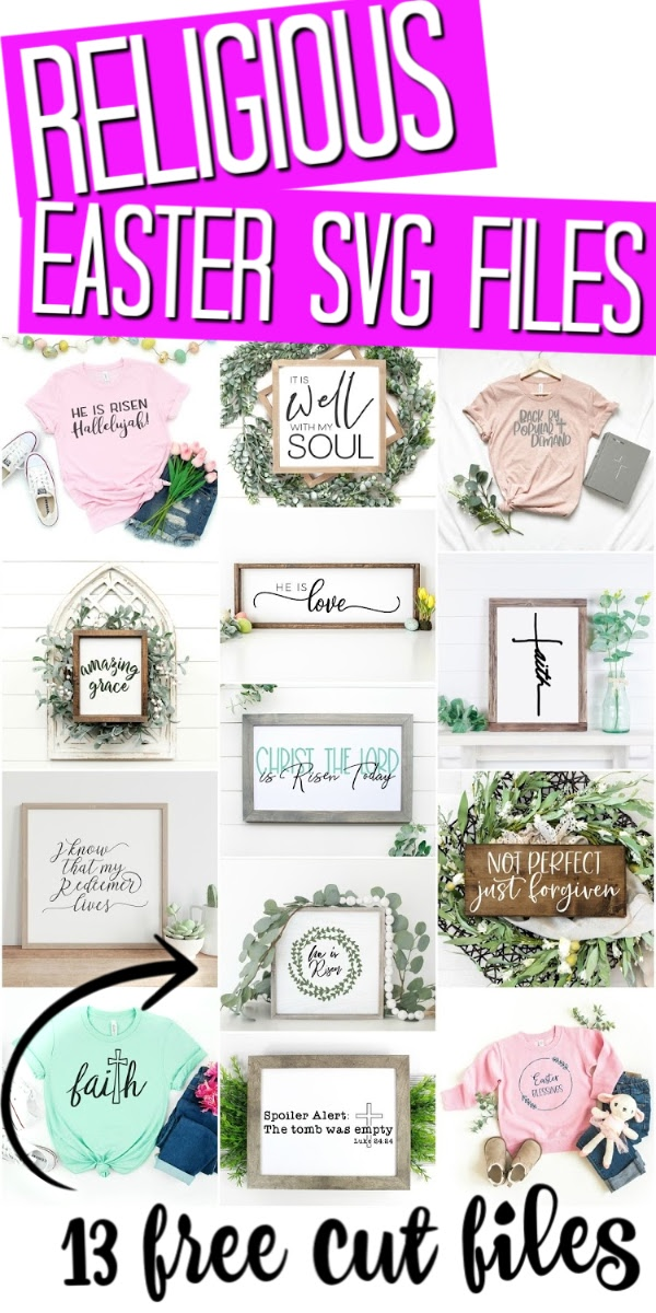 Download these 13 free religious Easter SVG files for your Cricut crafts! These files are perfect for shirts, signs, and so much more! #svg #freesvg #cutfiles #cricut #cricutcreated #easter #religious