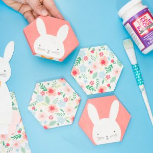 easter bunny decoupage coasters